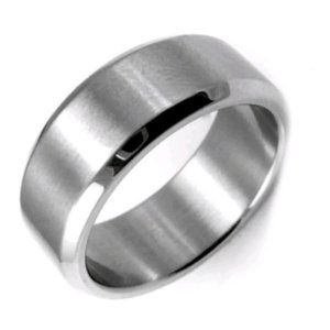 Silver Stainless Steel Mens Wedding Band / Ring